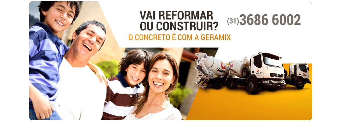 Vai reformar ou construir? O concreto é com a GERAMIX. Dividimos em até 10x no cartão